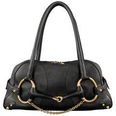GUCCI Black Leather Oversized Gold Tone Horsebit Shoulder Bag