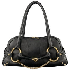 GUCCI Black Leather Oversized Gold Tone Horsebit Shoulder Bag