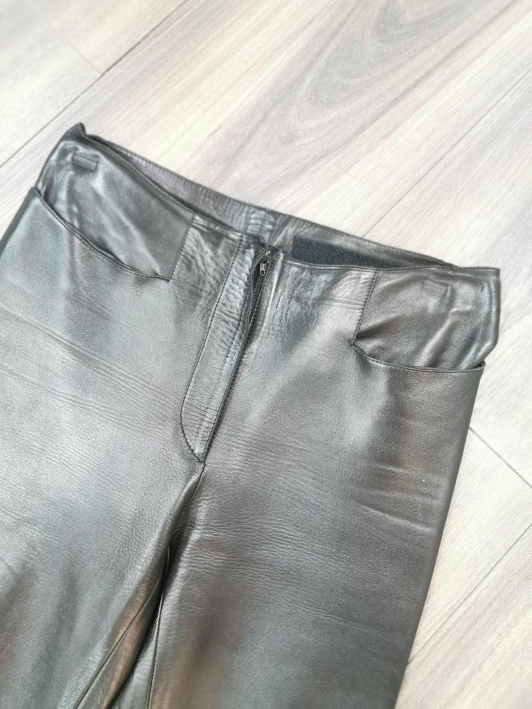 Black gucci black leather pants with mink fur size 40 For Sale