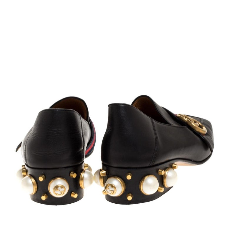 Women's Gucci Black Leather Pearl Embellished Double G Web Mid Heel Loafers Size 36.5 For Sale