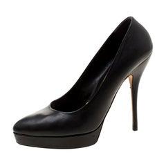 Gucci Black Leather Platform Pumps Size 39.5