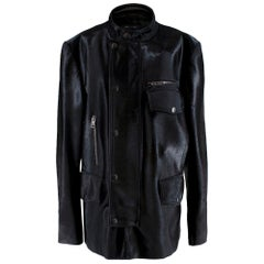 Gucci Black Leather & Pony Hair Biker Jacket - Size XXL -  54 IT