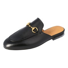Gucci Black Leather Princetown Horsebit Mules Size 35.5