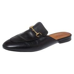 Gucci Black Leather Princetown Horsebit Mules Size 38.5