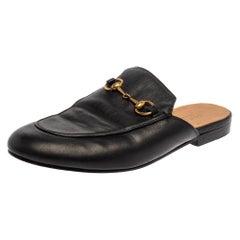 Gucci Black Leather Princetown Horsebit Slip On Mules Size 39