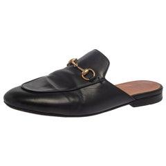Gucci Black Leather Princetown Sandals Size 38