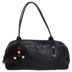 Gucci Black Leather Princy Boston Bag