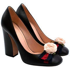 Gucci Black Leather Pumps With Floral Webstripe Bow - Size 39