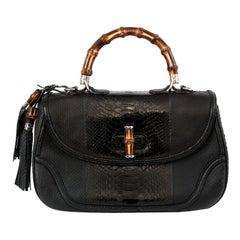 GUCCI black leather & PYTHON NEW BAMBOO Shoulder Bag
