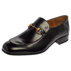 Gucci Black Leather Quentin Horsebit Loafers Size 44.5