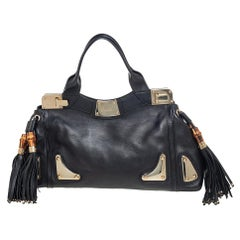 Gucci Black Leather Race Top Handle Bag