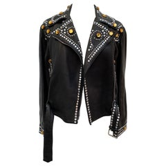 Gucci Black Leather Rhinestones Jacket