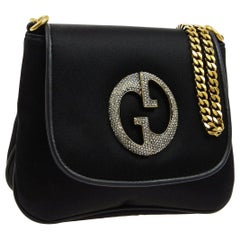 Gucci Black Leather Satin GG Party Gold Evening Small Mini Shoulder Flap Bag