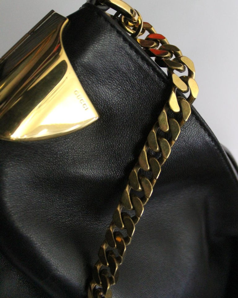 Gucci Black Leather Shoulder Bag For Sale 1
