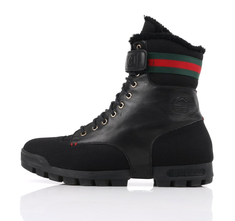 Men's GUCCI Black Leather Signature Webbing Shearling Lined Combat Boots For Sale