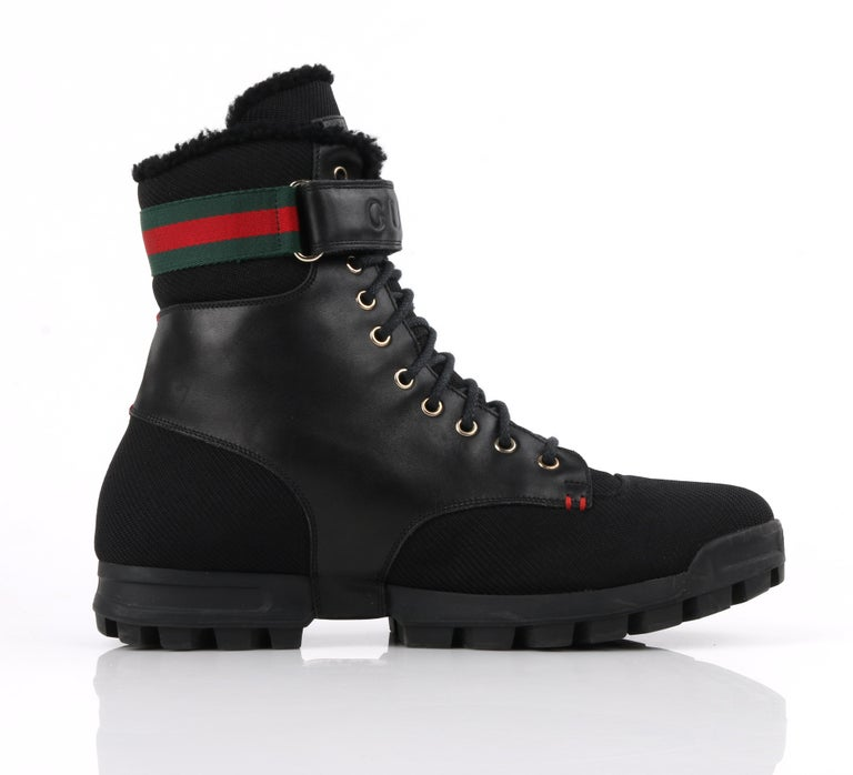 GUCCI Black Leather Signature Webbing Shearling Lined Combat Boots For Sale 1