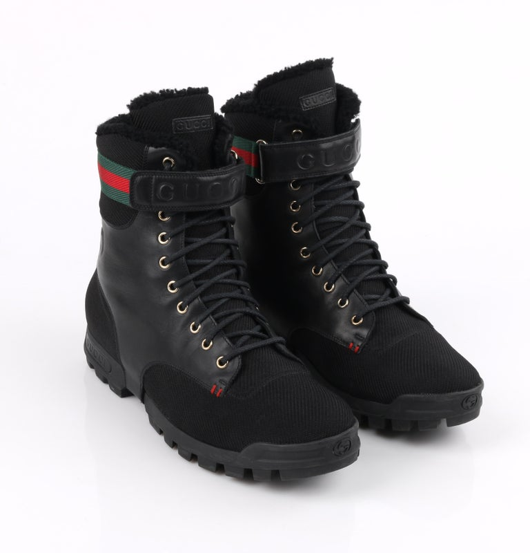 GUCCI Black Leather Signature Webbing Shearling Lined Combat Boots For Sale 2