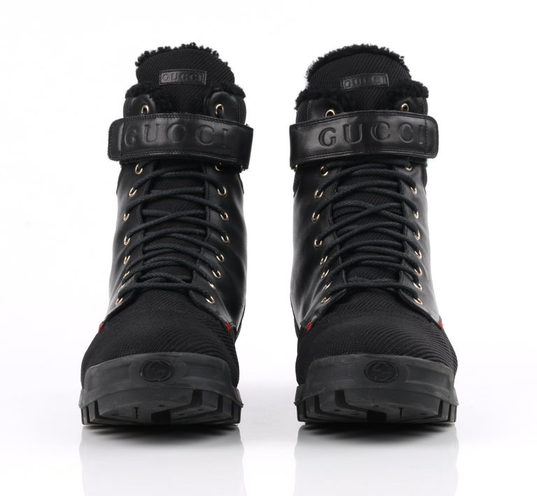 GUCCI Black Leather Signature Webbing Shearling Lined Combat Boots For Sale 3