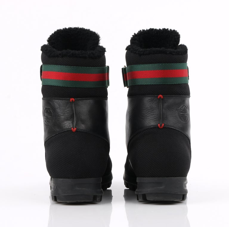 GUCCI Black Leather Signature Webbing Shearling Lined Combat Boots For Sale 4