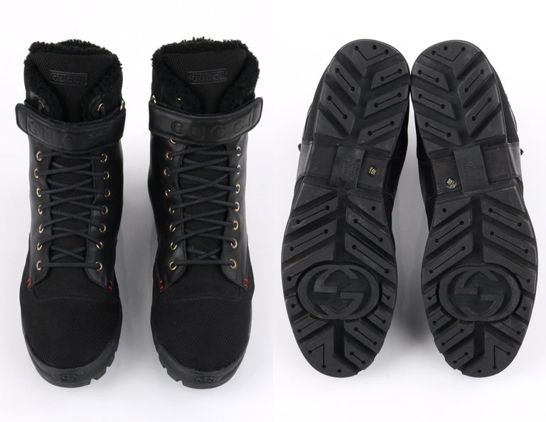 GUCCI Black Leather Signature Webbing Shearling Lined Combat Boots For Sale 5