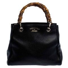 Gucci Black Leather Small Bamboo Shopper Tote