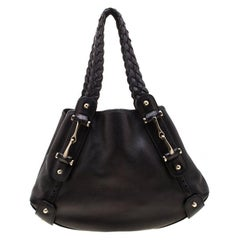 Gucci Black Leather Small Horsebit Pelham Hobo