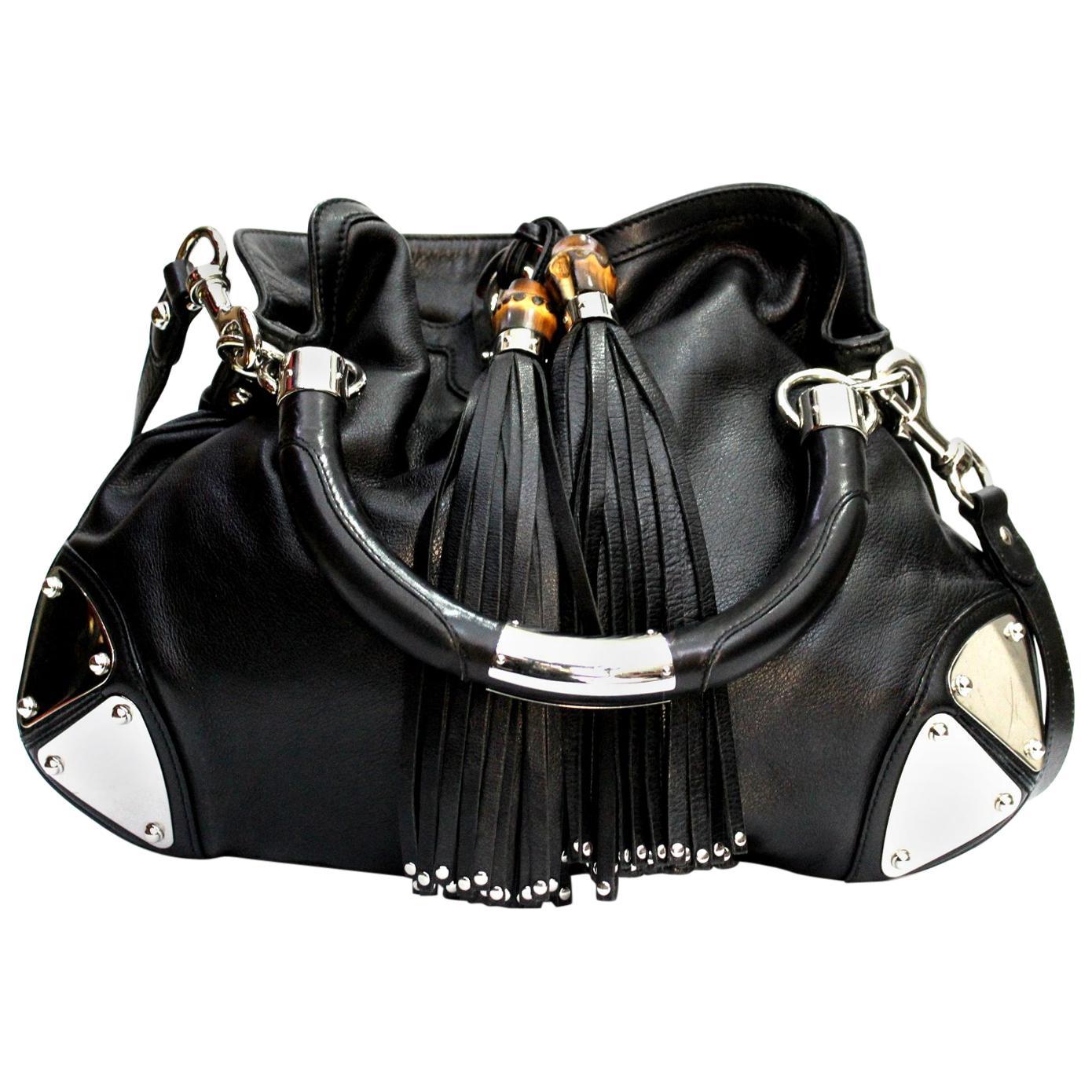 GUCCI Black Leather Small Indy Babouska Bag