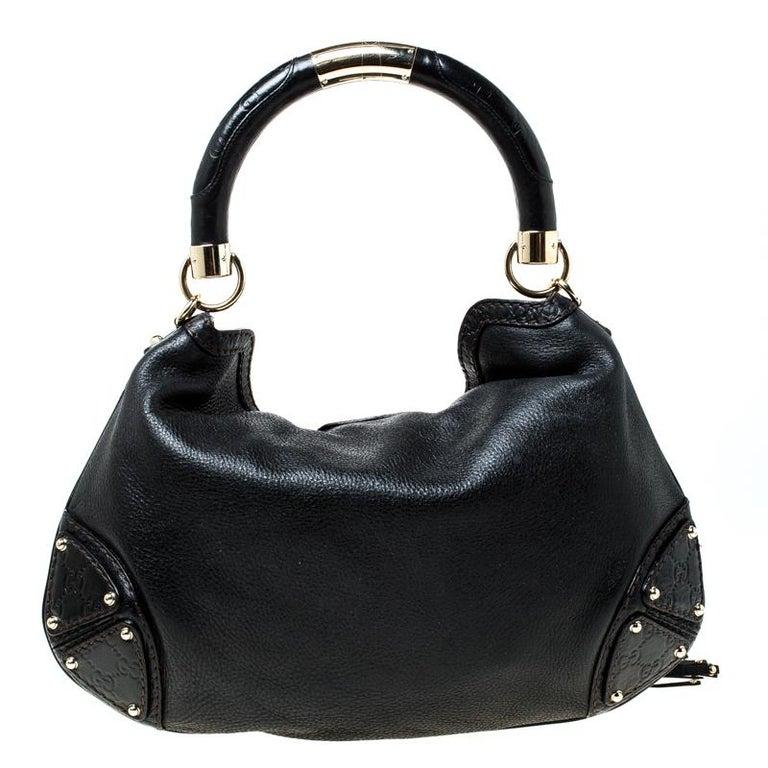 Gucci Black Leather Small Indy Babouska Hobo In Good Condition For Sale In Dubai, Al Qouz 2