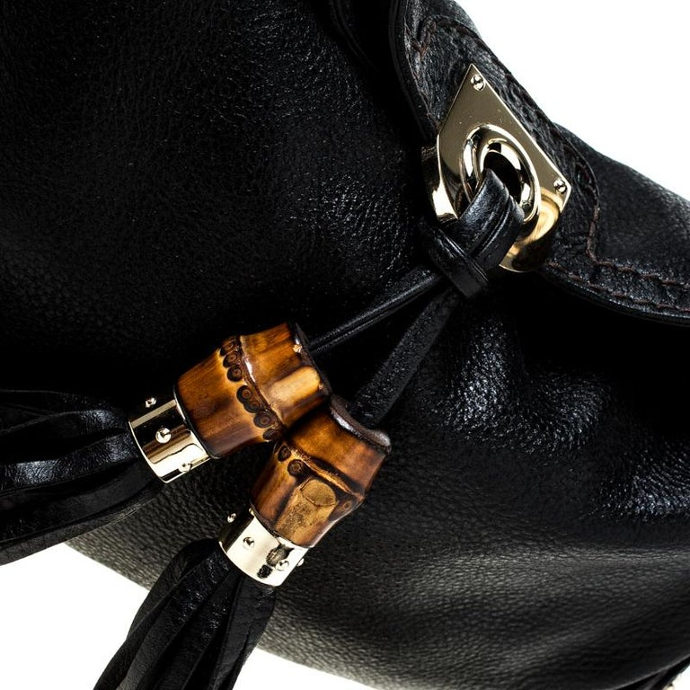 Gucci Black Leather Small Indy Babouska Hobo For Sale 1