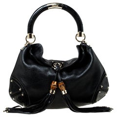 Gucci Black Leather Small Indy Babouska Hobo