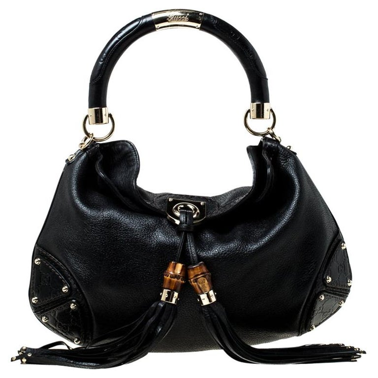 Gucci Black Leather Small Indy Babouska Hobo For Sale