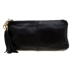 Gucci Black Leather Small Sienna Tassel Clutch