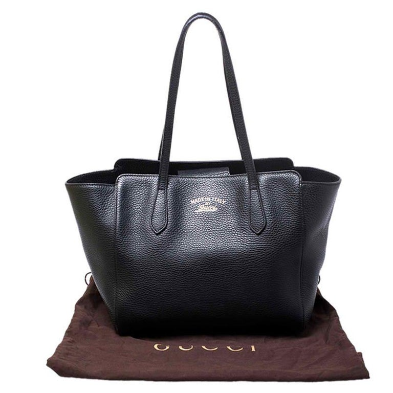 Gucci Black Leather Small Swing Tote For Sale 7