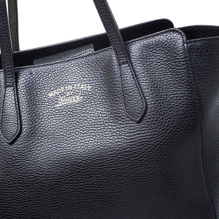 Gucci Black Leather Small Swing Tote For Sale 3
