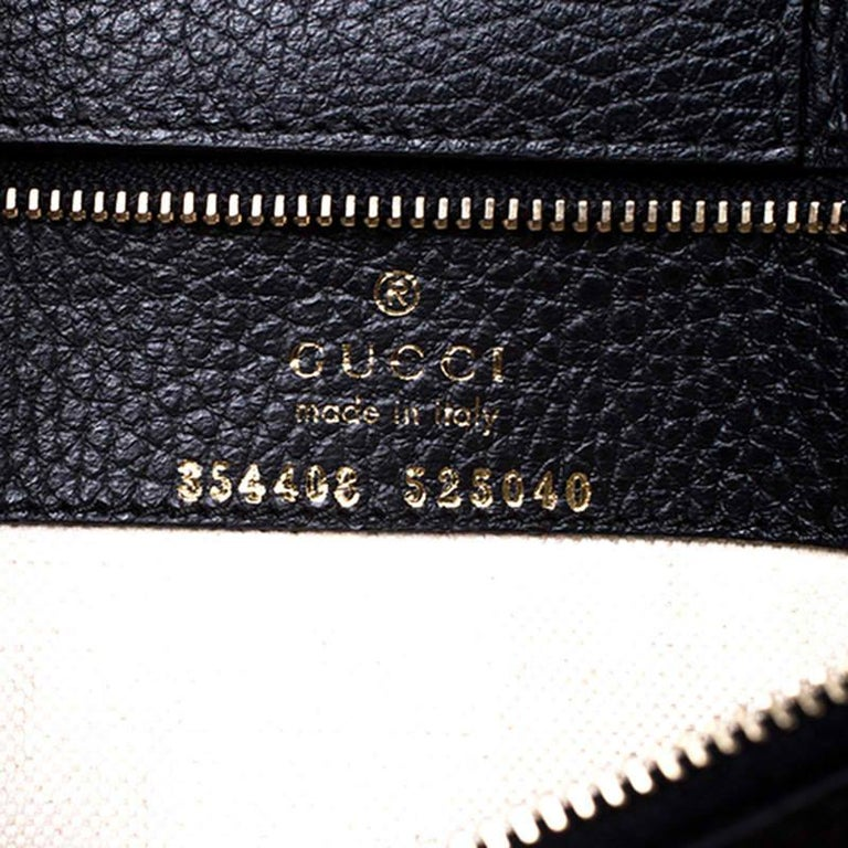 Gucci Black Leather Small Swing Tote For Sale 4