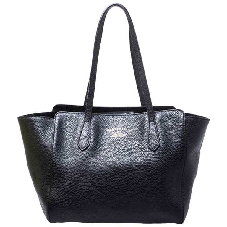 Gucci Black Leather Small Swing Tote For Sale
