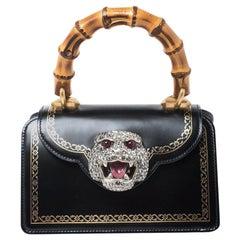 Gucci Black Leather Small Thiara Bamboo Top Handle Bag