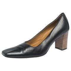 Gucci Black Leather Square Toe Pumps Size 36