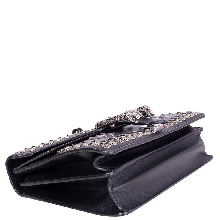 GUCCI black leather STUDDED DIONYSUS SMALL Shoulder Bag In Excellent Condition For Sale In Zürich, CH