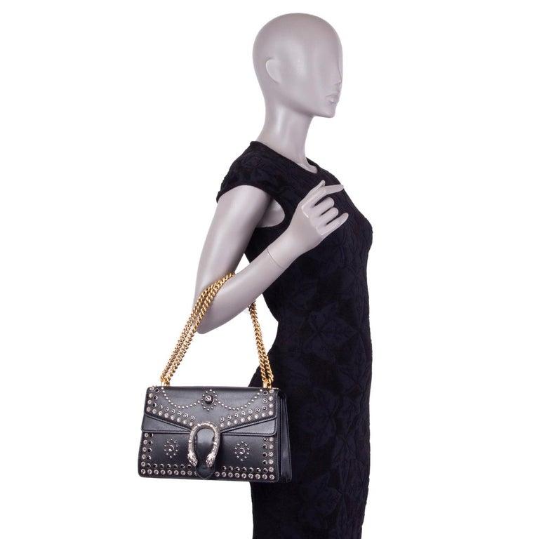 GUCCI black leather STUDDED DIONYSUS SMALL Shoulder Bag For Sale 3