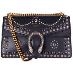 GUCCI black leather STUDDED DIONYSUS SMALL Shoulder Bag