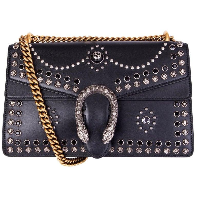 GUCCI black leather STUDDED DIONYSUS SMALL Shoulder Bag For Sale