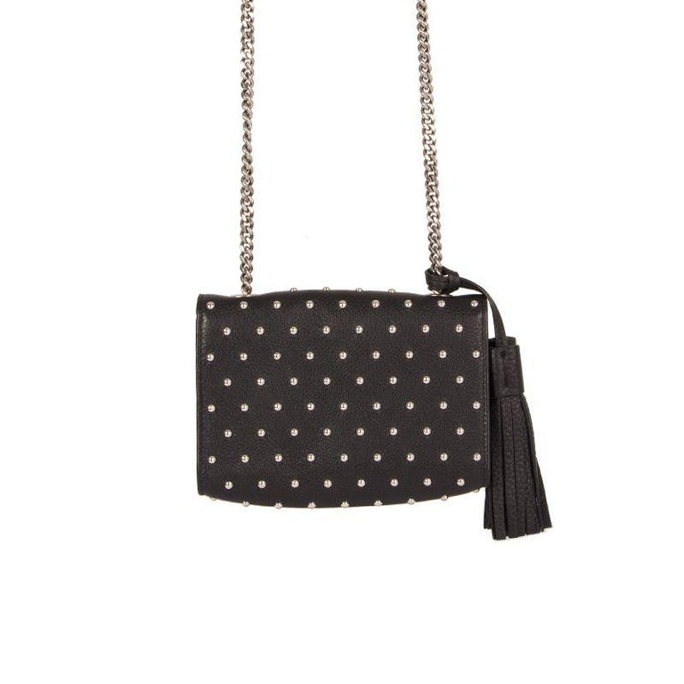 Black GUCCI black leather STUDDED MISS BAMBOO SMALL Crossbody Shoulder Bag For Sale