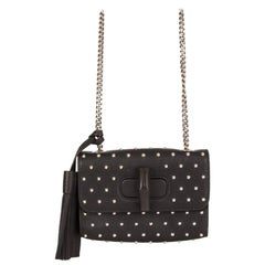GUCCI black leather STUDDED MISS BAMBOO SMALL Crossbody Shoulder Bag