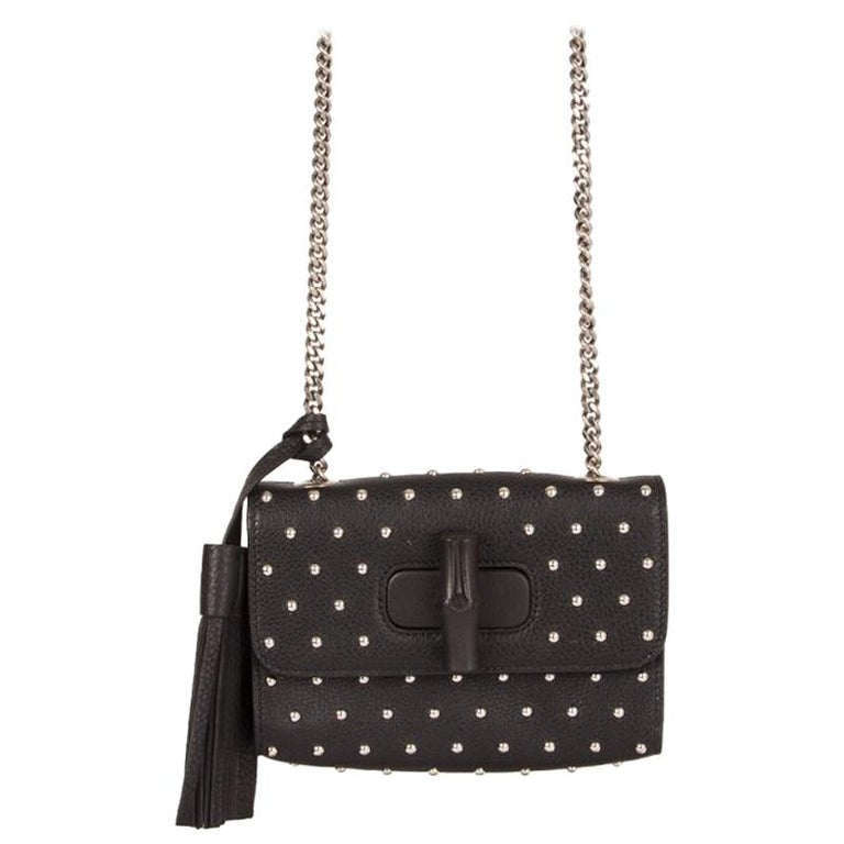 GUCCI black leather STUDDED MISS BAMBOO SMALL Crossbody Shoulder Bag For Sale