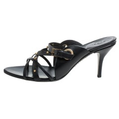 Gucci Black Leather Studded Open Toe Sandals Size 39.5