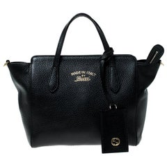 Gucci Black Leather Swing Tote
