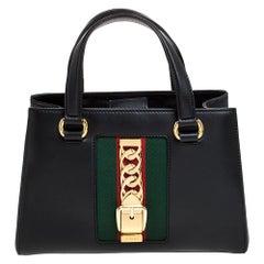 Gucci Black Leather Sylvie Medium Tote