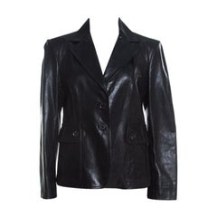 Gucci Black Leather Tailored Two Button Blazer L