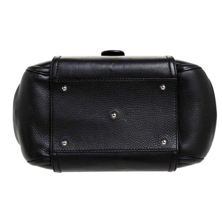 Gucci Black Leather Techno Horsebit Top Handle Bag For Sale 8